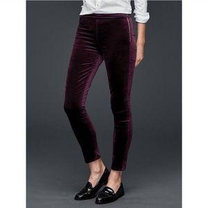 Gap | Burgundy Velvet  Sid Zip Pant Leggings 30R